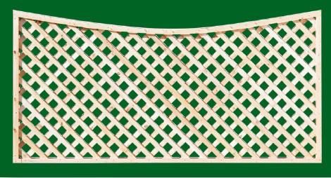 Eastern White Cedar Lattice Panel with scalloped top rail and diagonal lattice. Can also be orderd with square lattice.
