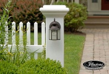 Straight top Illusions fence Classic Victorian picket panel and a Majestic 8x8 post with light fixture. Be creative!