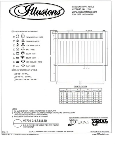 Illusions Vinyl Fence style V3701.  This T&G privacy panel has a Framed Victorian picket top. It can be ordered with matching gates in all heights, colors and any of the amazing wood grain finishes. All heights are available in the Classic Series colors of as well.