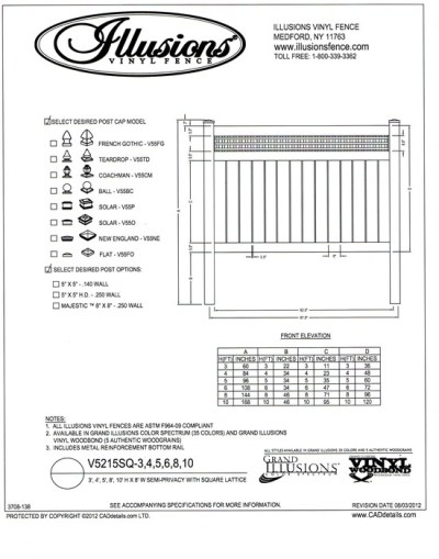 Illusions Vinyl fence style V5215SQ is a semi privacy panel with a base of 6 inch boards space 1/2 inch apart and a square sheet lattice top.