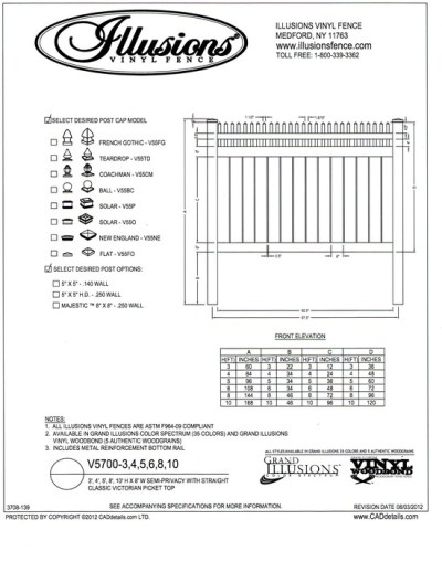 V5700 Style by Illusions Vinyl Fence  has a Straight Open Top Victorian picket and 6 inch boards with 1/2 inch spacing between as the base. All Illusions fence styles are available in the amazing Grand Illusions Color or wood grain finishes with matching gates too.