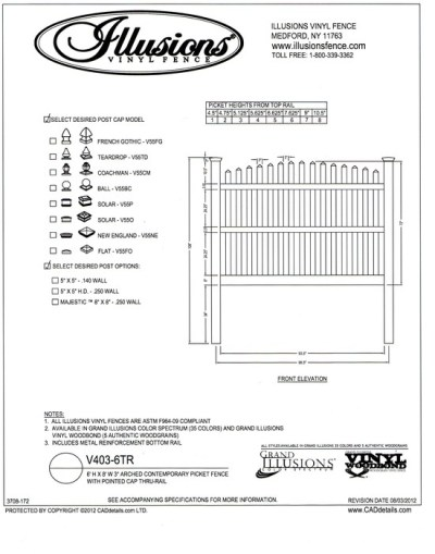 This is a 3 rail, 6 foot tall Contemporary spaced picket with pointed cap and crowned top. Illusions Vinyl Fence offerds this style in any of their vinyl colors or wood grain finishes.