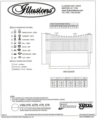 Illusions Vinyl Fence Contemporary picket (7/8x3 inch) with scalloped top and dog eared cap. Two rails are used on 3, 42 inch, 4 and 5 foot heights. All Illusions fence products are available in the Classic, Grand Illusions Color Spectrum ot the WoodBond wood grain finish.