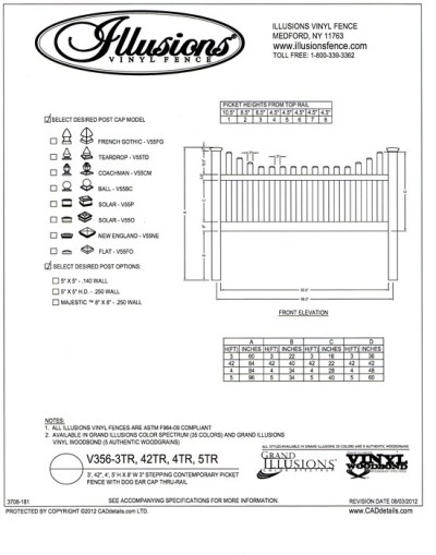 Illusions Vinyl Fence Contemporary picket (7/8x3 inch) with stepped top and dog eared cap. Two rails are used on 3, 42 inch, 4 and 5 foot heights. All Illusions fence products are available in the Classic, Grand Illusions Color Spectrum ot the WoodBond wood grain finish.