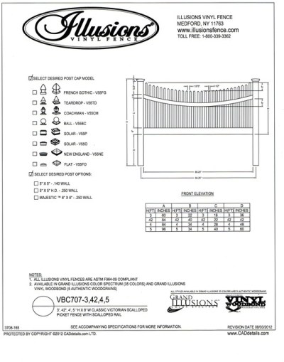 A scalloped Victorian picket fence with a scalloped top rail can be ordered in any of the Illusions Vinyl Fence colors and wood grain finishes.