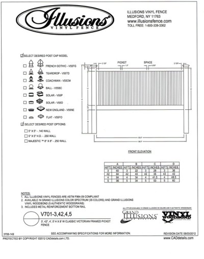 A framed two rail classic Victorian picket fence panel by Illusions. Can be ordered in any color and in a 3, 42 inch, 4 or 5 foot tall panel.