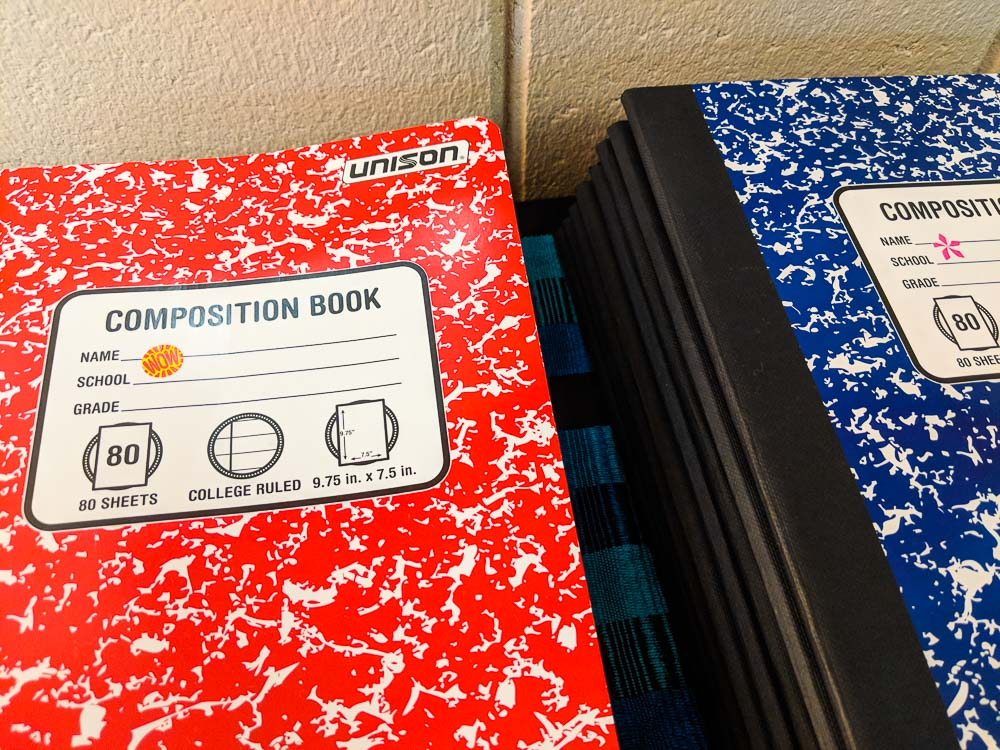 red and blue notebooks