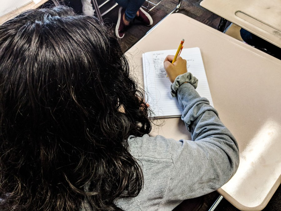 girl student writing