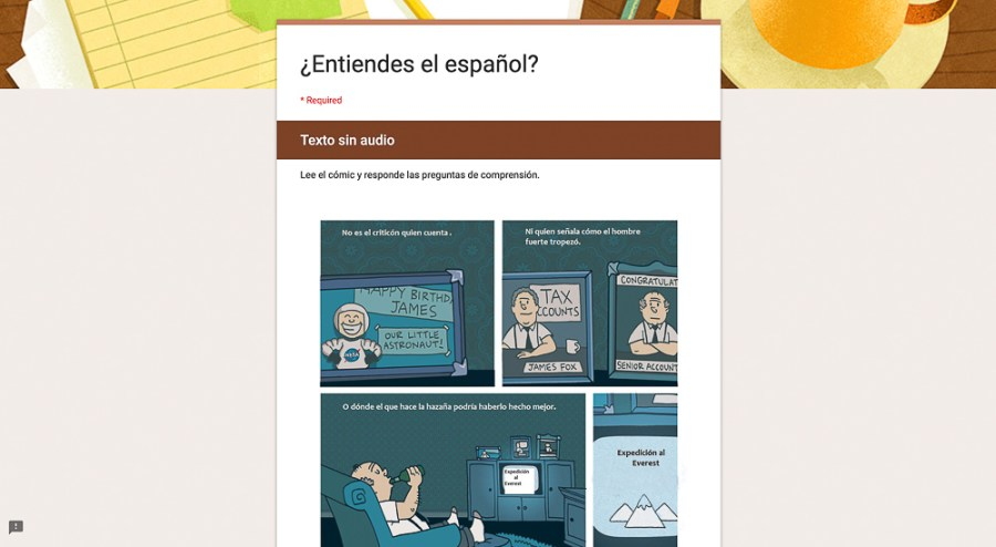 texto sin audio assessment for Spanish class