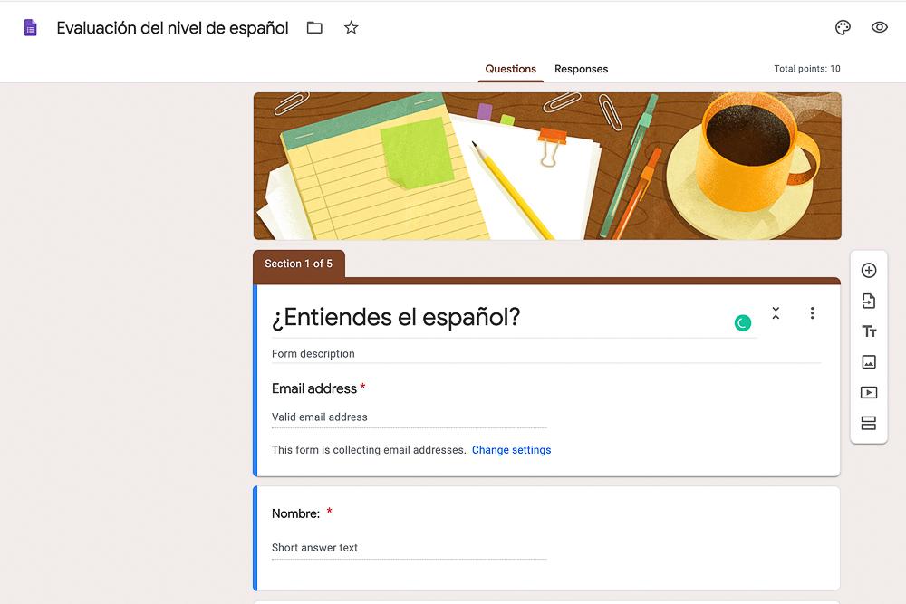 evaluación del nivel del español