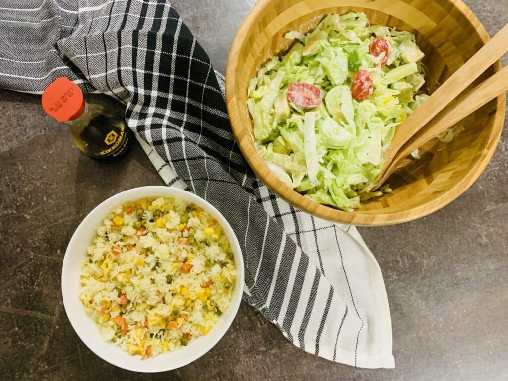 Ориз със зеленчуци и салата