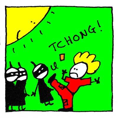 Fred met un coup de pieds à Chen.