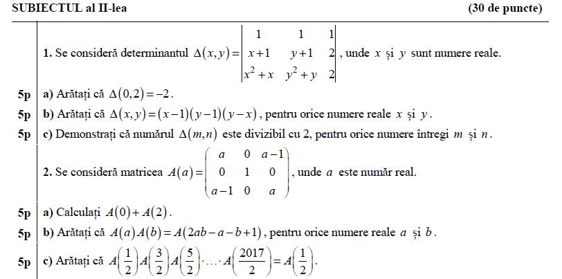 Simulare BAC 16 Martie 2017 Matematica- Subiecte + Bareme