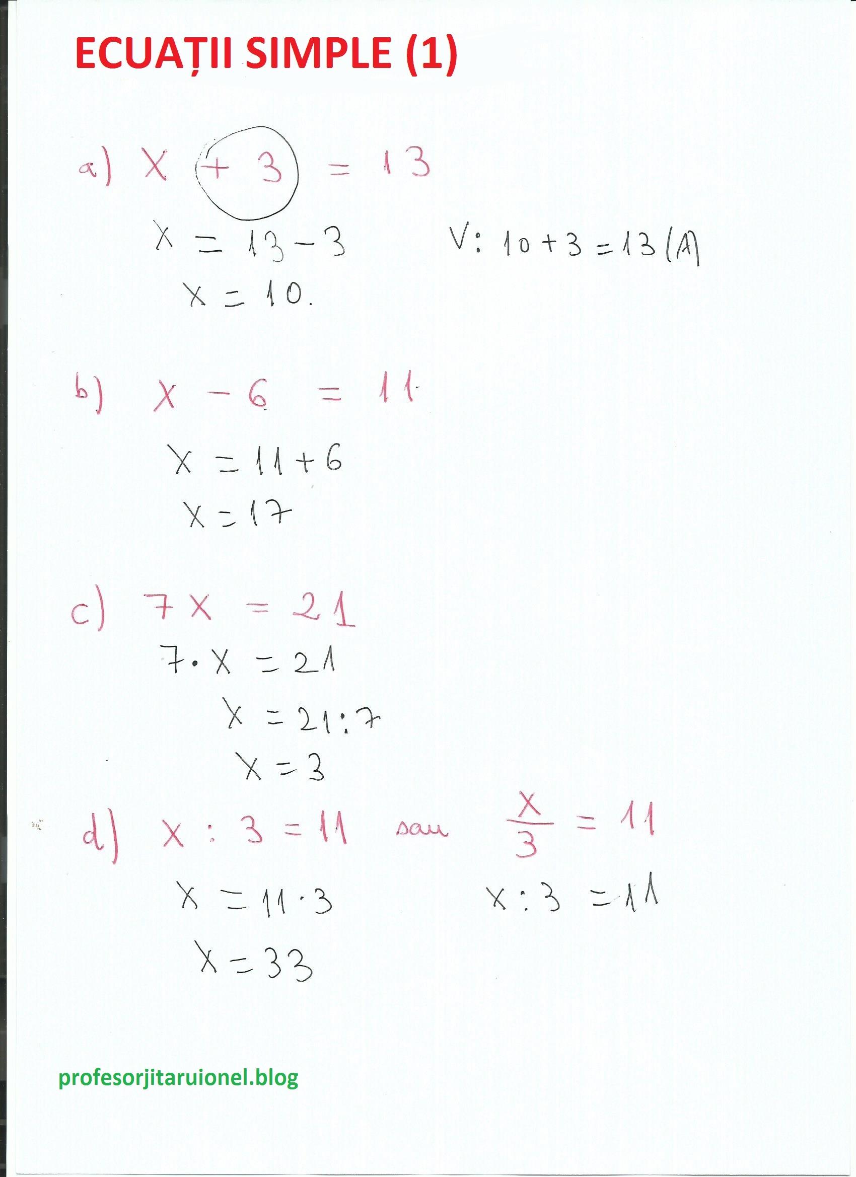 Exemple de ecuatii simple (1) + fisa de lucru cu ecuatii