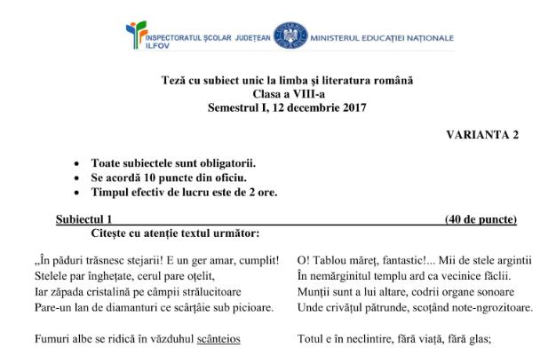 Barem Simulare Romana 2019 Detail: Teză Cu Subiect Unic(TSU) -ISJ ILFOV -12 Decembrie 2017