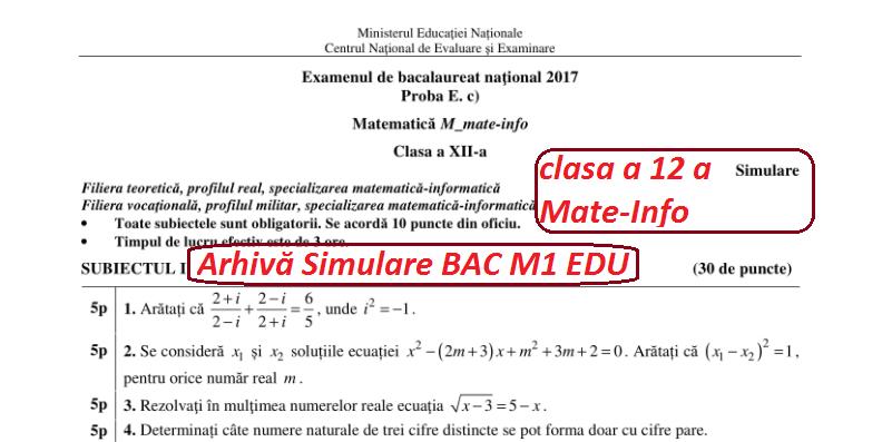Simulare Clasa A 8 A 2019 Matematica: Simulare BAC 2018 Matematică -subiecte +bareme Din Anii