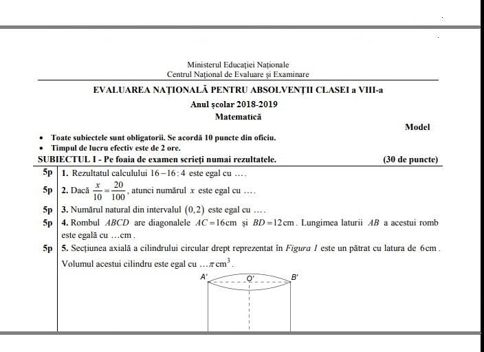 45 Modele Oficiale EDU Cu Rezolv Ri Bareme Pentru