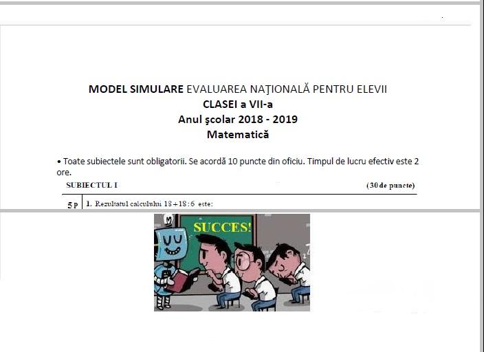 Simulare Clasa A 8 A 2019 Matematica: Model SIMULARE 2019 -clasa A 7-a -matematica (EN -martie