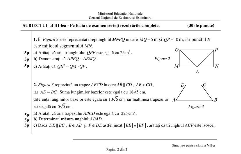 Simulare Clasa A 8 A 2019 Matematica: 12.03.2019 -REZOLVARE Simulare EN Clasa A 7-a -Matematica