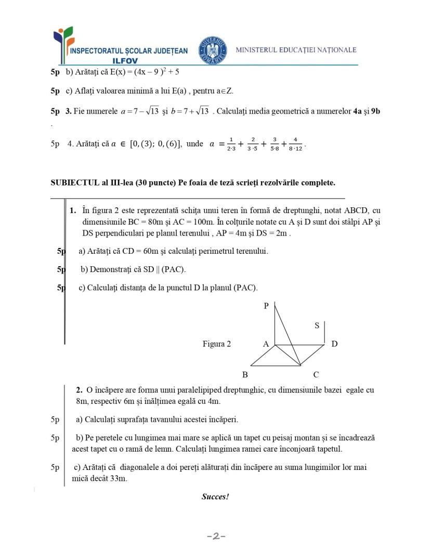 VARIANTA de Teză cu subiect unic -Matematică -clasa a 8-a -an școlar 2019-2020 -semestrul 1(TSU) -simulare2