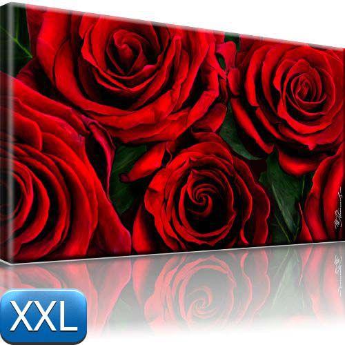 Rote Rosen Bild auf Leinwand Natur Bilder 100x55 XXL  eBay