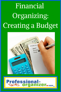 financial organizing creating a budget