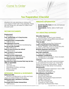 tax preparation check list