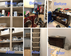 home organizing before and after