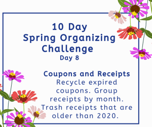 Organizing challenge coupons and receipts