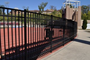 Flat Top Ornamental Fence with Custom Logo