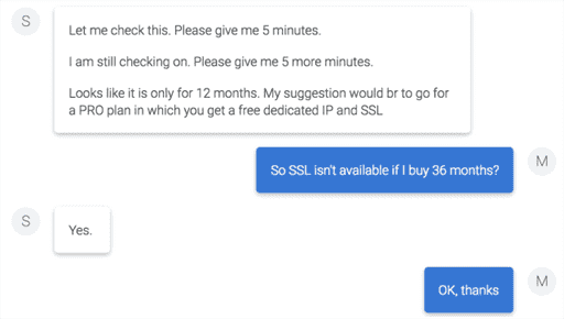 Online chat with Bluehost support