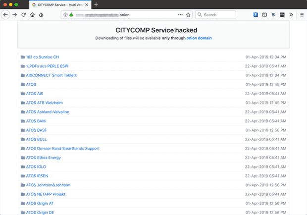 Citycomp hack dark web site