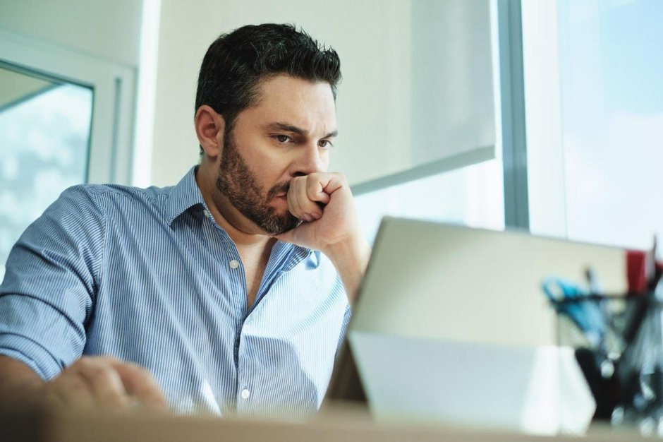 Worried Businessman Got Virus and Data Loss on Laptop Computer