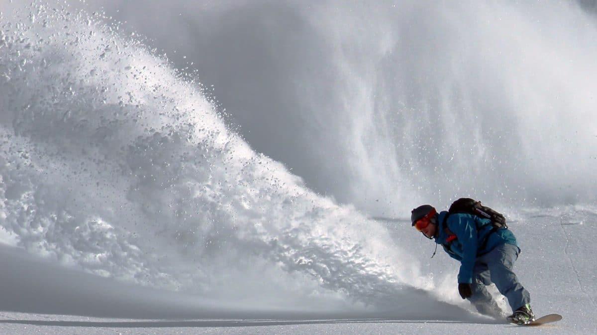 Snowboarding Deep Powder Snow