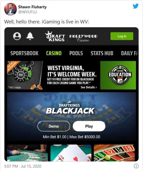 Tweet About DraftKings WV Casino