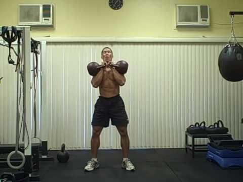 Double 32 kg Kettlebell Thruster