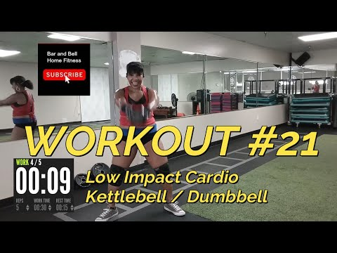 (Workout #21) Low Impact Cardio Workout for beginners w / kettlebell / dumbell alternatives