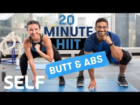 20 Minute HIIT Cardio Exercise Glutes & Abs No Instruments With Heat-Up and Chilly-Down | Sweat With SELF