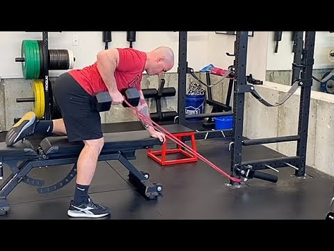 One-Arm Kettlebell Row With A Band