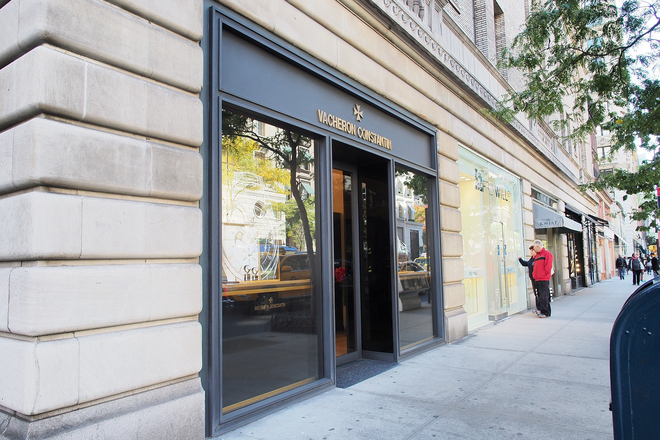 The flagship Vacheron Constantin boutique is two-levels and in located between 63rd and 64th streets on Madison Avenue. (729 Madison Ave)
