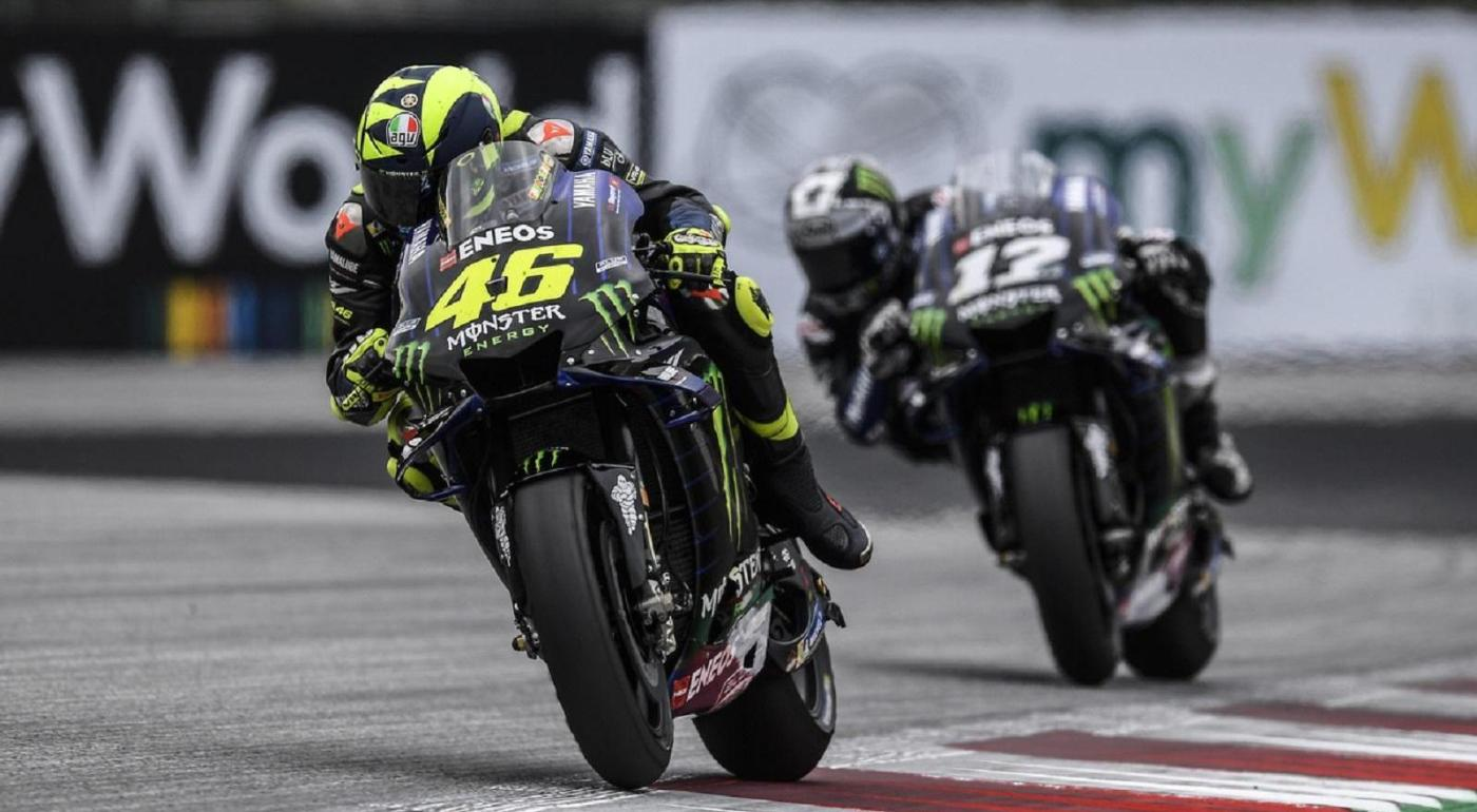 Valentino Rossi taking a turn in MotoGP race