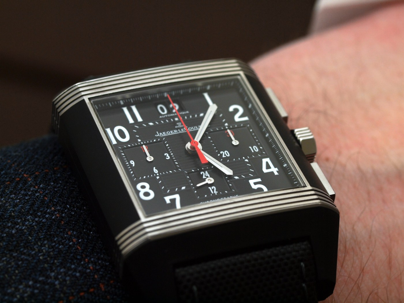 Jaeger-LeCoultre Reverso Squadra Chronograph GMT Palermo Open wristshot