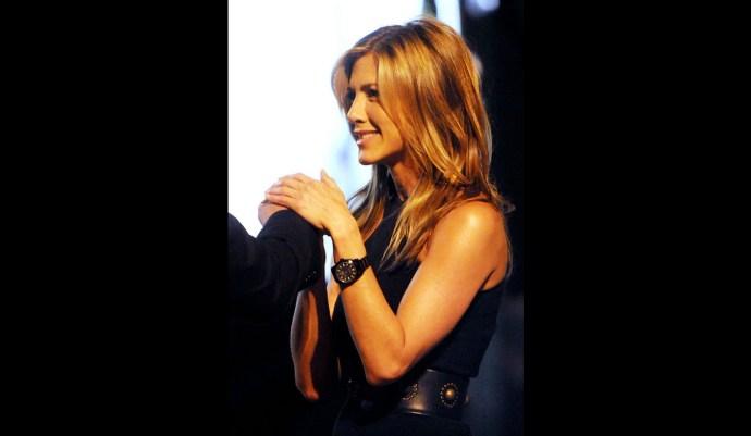 Jennifer Aniston wearing a black Rolex Milgauss