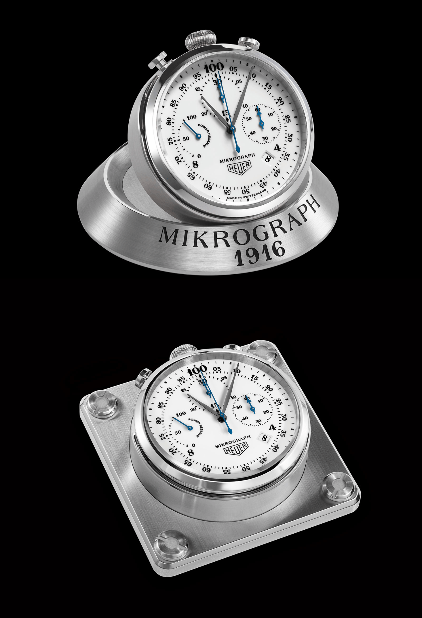 TAG Heuer Carrera Mikrograph Anniversary Edition table clock and dashboard mount