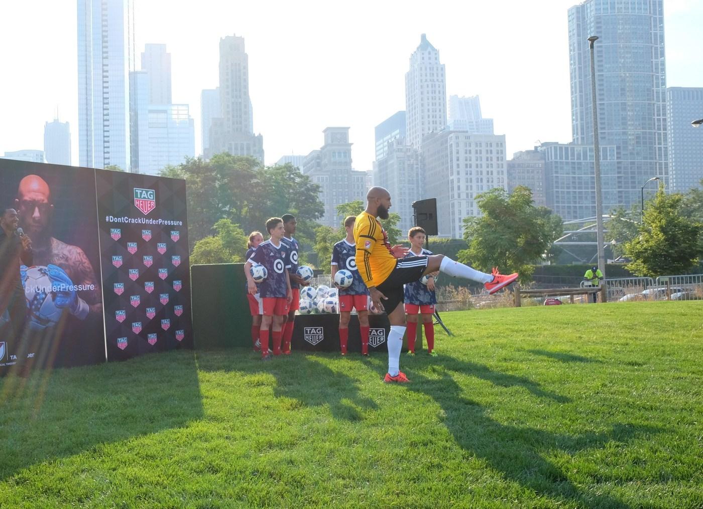 Tim Howard TAG Heuer MLS Soccer Ambassador at Millennium Park in Chicago August 2017