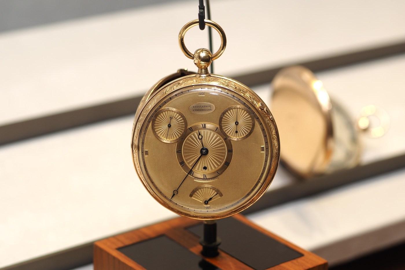 Breguet No. 1176 Montre garde-temps à tourbillon pocketwatch seen in the Breguet Museum of Paris