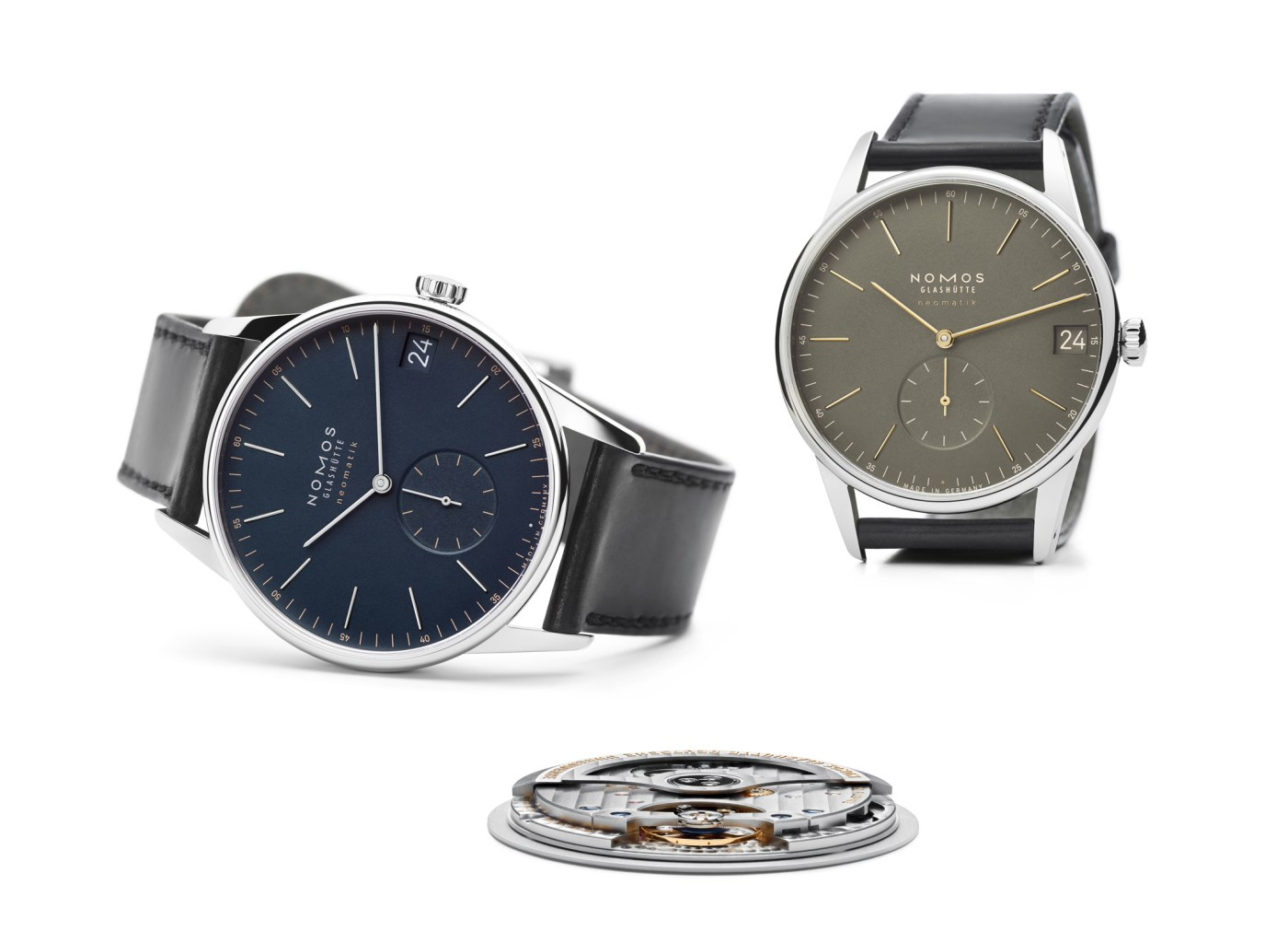 Nomos Glashutte Orion Neomatik Date Olive and Navy Colorways