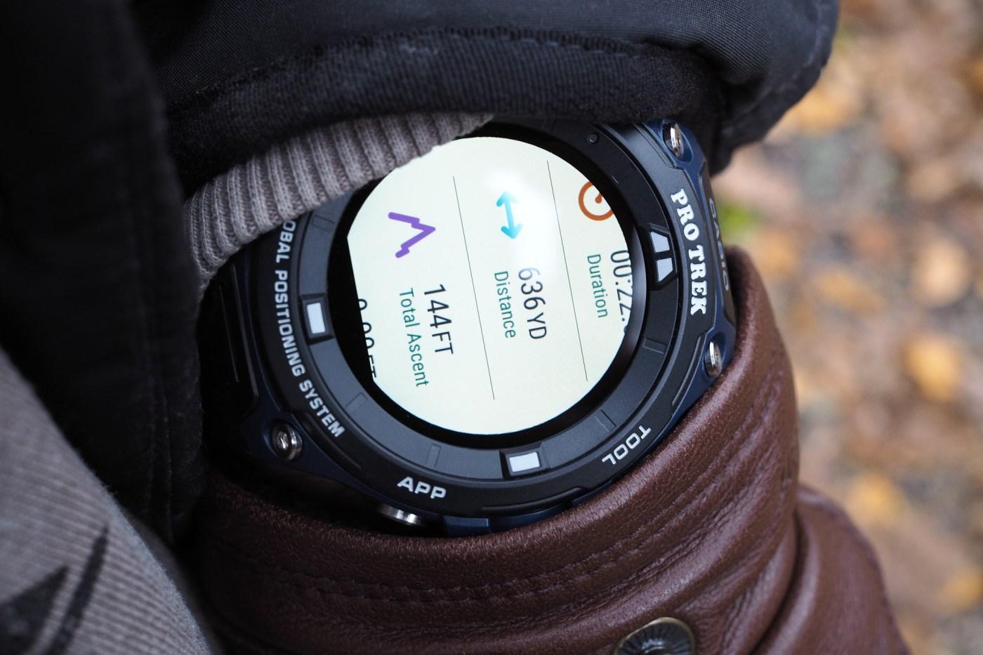 Casio Pro Trek View Ranger app showing total ascent