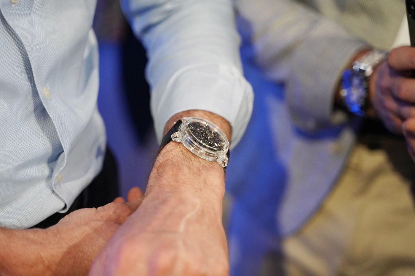 Girard-Perregaux Neo-Tourbillon with Three Bridges Quasar wristshot