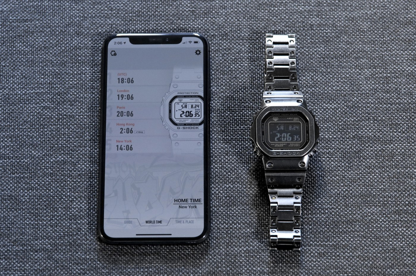 Casio G-Shock Full Metal 5000 Limited Edition 2019 GMWB5000V-1 paired with iPhone XS